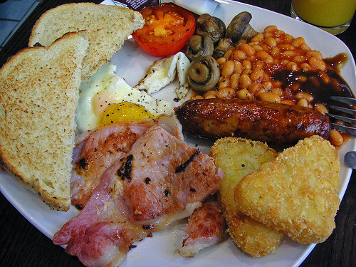 salty food English breakfast high fat content