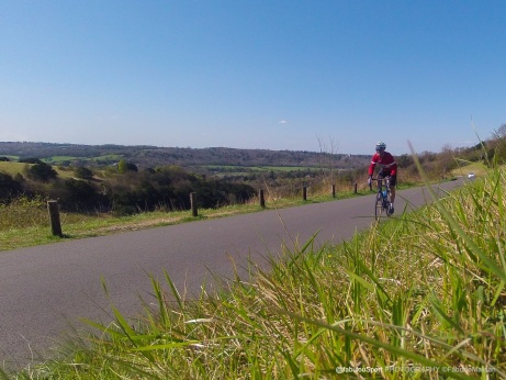 """Beautiful scenery Cycling up Box Hill in Surrey UK, the beautiful """"Zig Zag Road"""" route of the 2012 London Olympic Games"""
