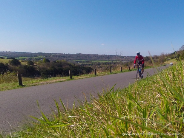 "Beautiful scenery Cycling up Box Hill in Surrey UK, the beautiful ""Zig Zag Road"" route of the 2012 London Olympic Games"