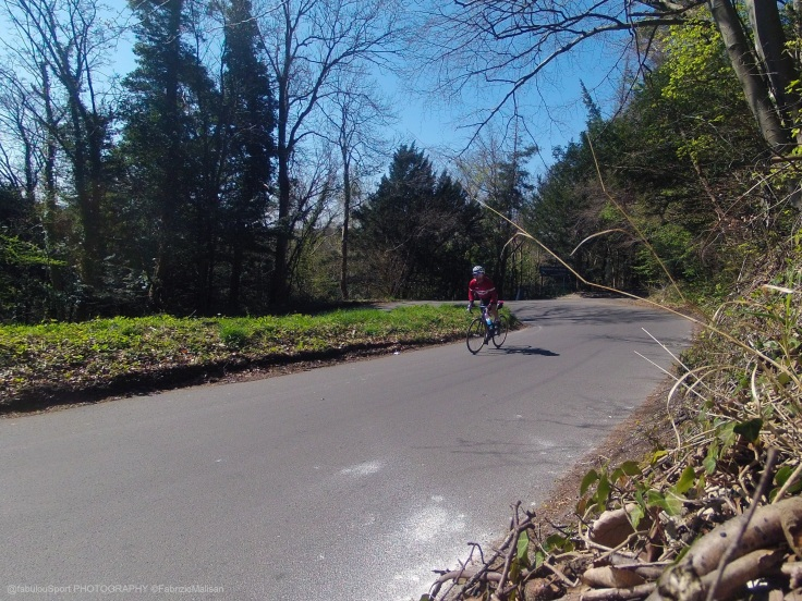 """Cycling up Box Hill in Surrey UK, the beautiful """"Zig Zag Road"""" route of the 2012 London Olympic Games"""