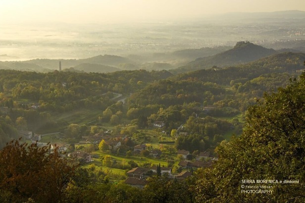 Misty morning view from  the Serra Morenica hill of Piedmont, Italy