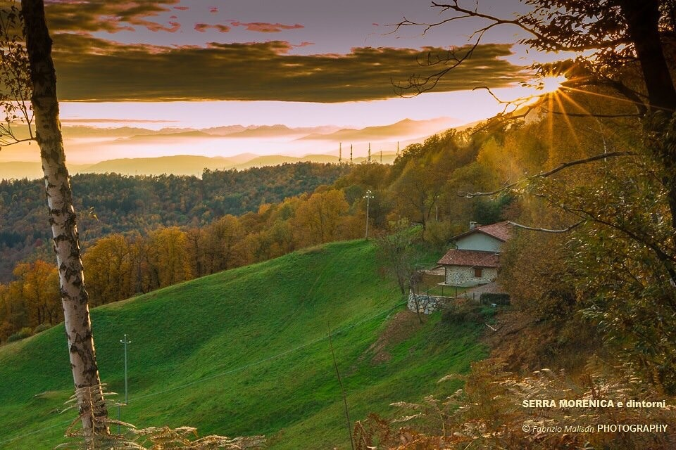 Sunset over the Serra Morenica in Piemonte Italy