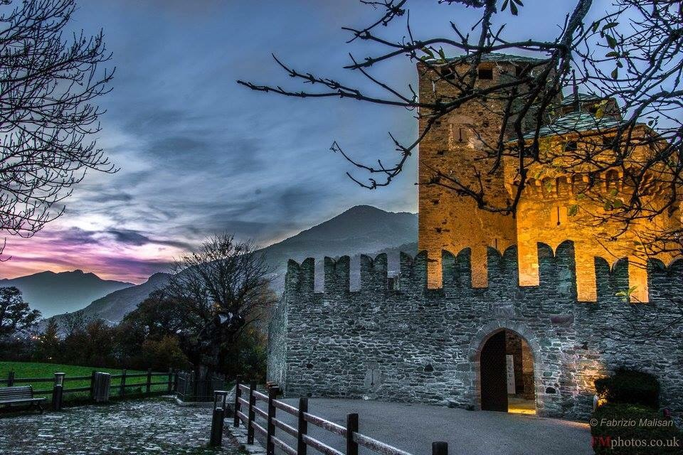 Evening comes over Fenis Castle Aosta Italy