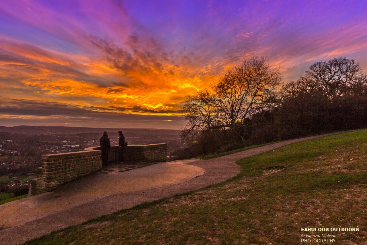 Sunset over Box Hill Surrey England UK