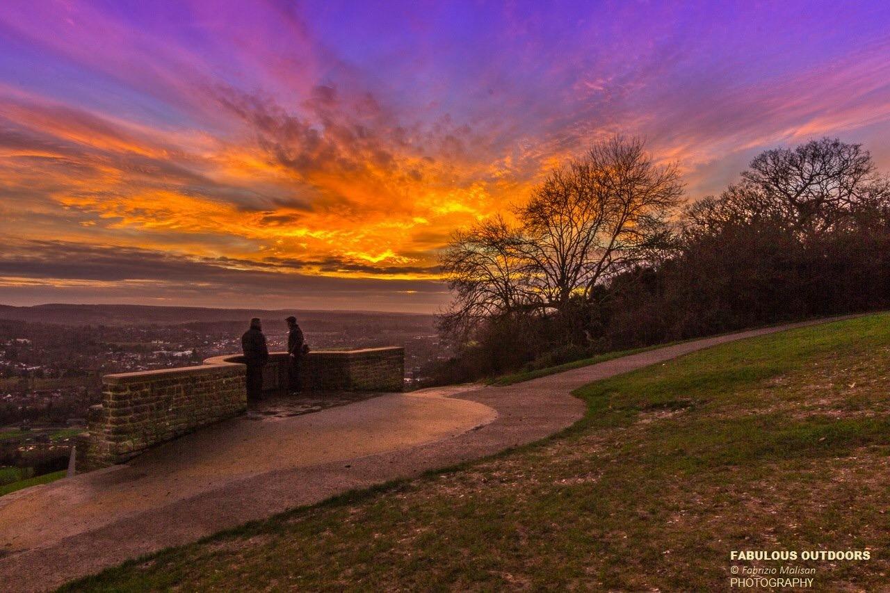 Sunset over Box Hill Surrey England UK