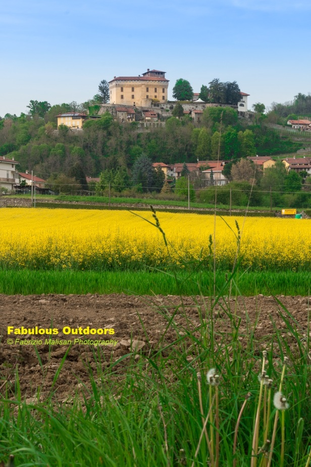 Colorful Fields below the Castello di Roppolo in Piedmont Italy