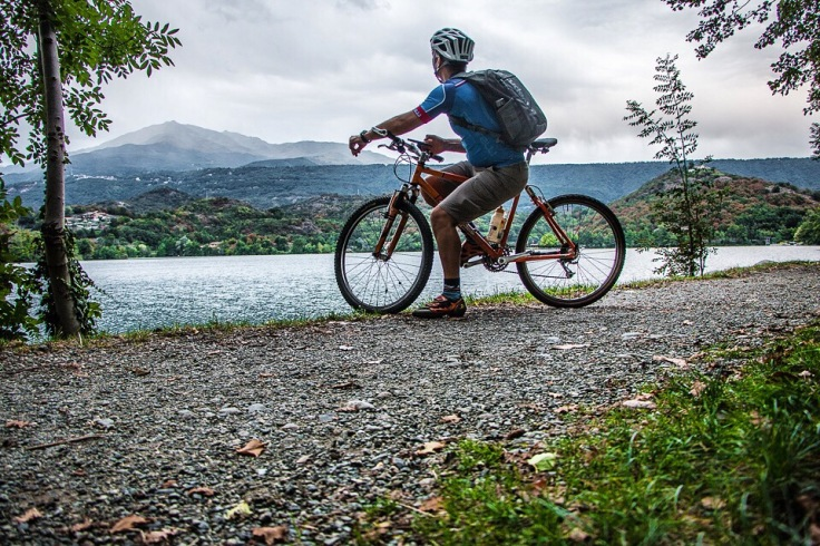 Mountain biking scenery from lake Sirio with Mombarone