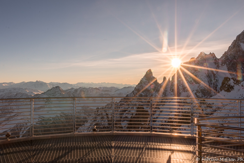 Sunset View from Skyway's platform on the Mont Blanc