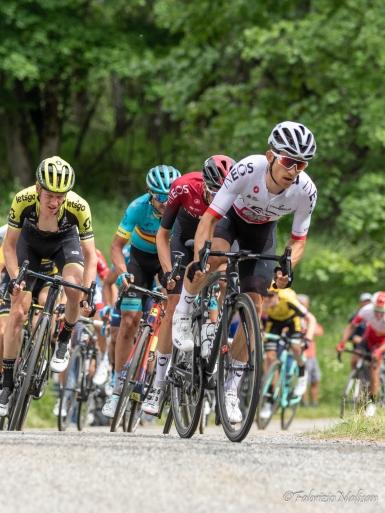 Michal Kwiatkowski leading the chase on Col de la Baune stage 6